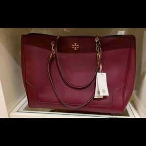 Burgundy Tory Burch Tote